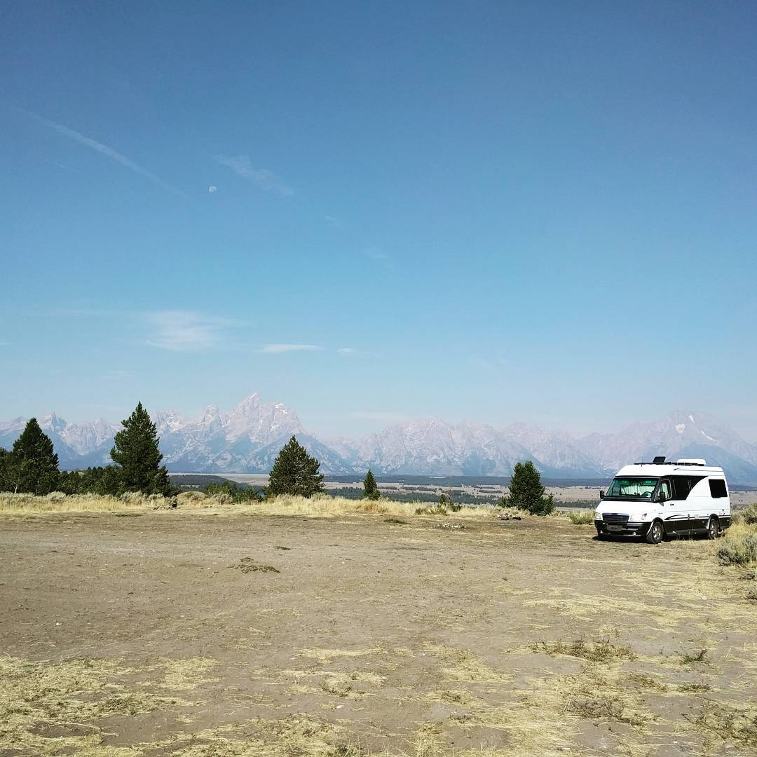 My van parked outside Grand Teton National Park