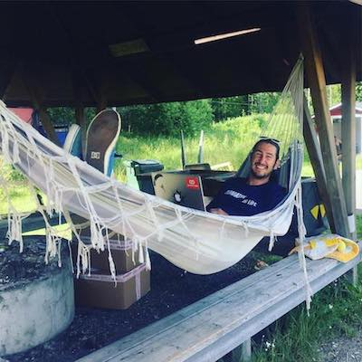 Working in a hammock in Sweden